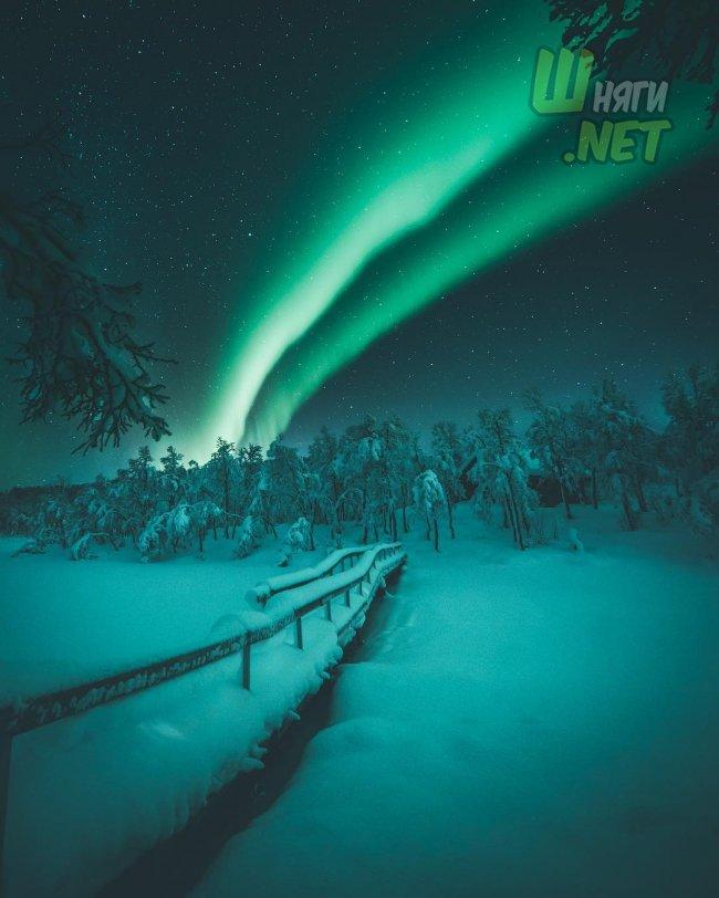 Ночное небо над Норвегией норвегия